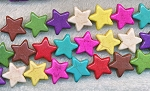 ZSOLDOUT - Magnesite Beads, Multicolor Star 15mm