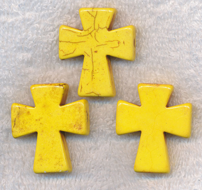Magnesite Bead Pendants, Yellow Cross 35x30mm
