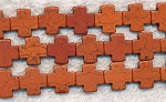 Cross Beads, Brown 15mm Magnesite