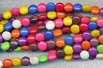 8mm Coin Multicolored Gemstone Beads