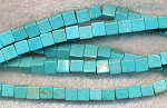 Turquoise Beads, Cube 6mm