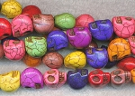 Skull Beads, Multicolor 14mm 3D