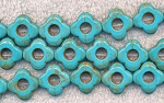 15mm Turquoise Magnesite Flower Beads