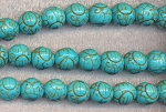 Turquoise Beads, Carved Round 11mm