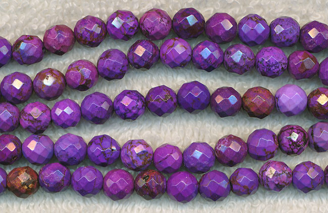 Magnesite Beads, Purple Round 8mm Faceted