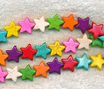 Magnesite Beads, Multicolor Star 15mm
