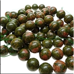 Unakite Beads, 18mm Round, Strand