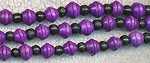 Wood Beads, Purple Saturn & Black Rondelle Mix