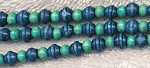 SOLDOUT - Wood Beads, Navy Blue Saturn Beads with Turquoise Blue Rondelle Mix