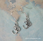 Silver Om Earrings, Meditation Jewelry