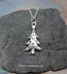 Christmas Tree Necklace, Silver Yule Tree Necklace with Stars