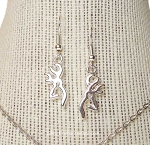 Deer Earrings, Stag Earrings, Bright Silver Buck Jewelry