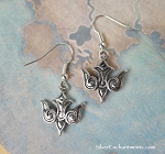 Silver Celtic Dove Earrings, Ornate Bird Earrings