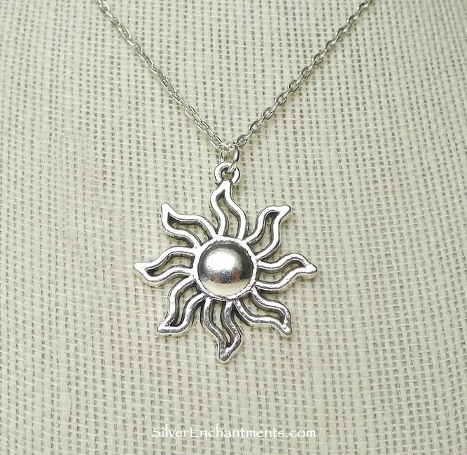 Sun Necklace Everyday Silver Celestial Jewelry