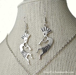 Silver Kokopelli Earrings, Southwestern God of Mischief
