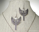 Silver Large Cross with Angel Wings Earrings