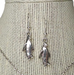 Penguin Earrings, 3D Silver Penguin Jewelry