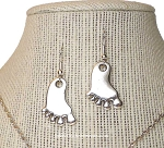Silver Foot Earrings, Footprint Earrings, Christian Jewelry