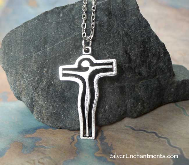 Surreal Crucifix Necklace Everyday Silver Christian Jewelry