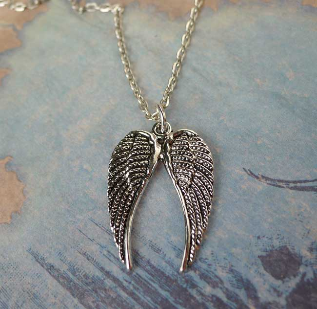 Double Angel Wings Necklace - Everyday Silver Angel Wing Jewelry ... fa2a612ef