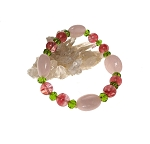 Rose Quartz Bracelet with Cherry Quartz, Beaded Gemstone Stretch Bracelet, Heart Chakra Jewelry here
