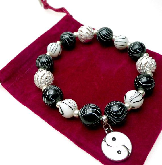 Yin And Yang Bracelet Beaded Zen Buddhism Jewelry Yin