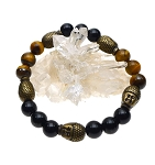 Buddha Bracelet, Tiger's Eye and Black Onyx with 5 Buddha Beads Gemstone Bracelet