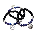 Cross Bracelet with Black Onyx and Sodalite, Cross Gemstone Bracelet
