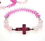 Gemstone Cross Bracelet with Rose Quartz and Sea Sediment Jasper