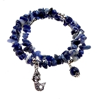 Mermaid Bracelet, Sodalite Bracelet with Mermaid, Wrap Bracelet