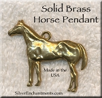 Solid BRASS Horse Pendant, Large Stallion