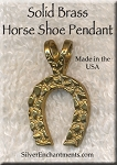 Solid BRASS Nugget Horseshoe Pendant, Bailed