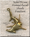 Solid BRASS Hammerhead Shark Pendant, Large