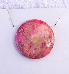 Pink Sea Sediment Jasper Drilled Cabochon Pendant, Jasper Full Moon Pendant