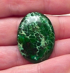 ZSOLD / Freeform Cab for Wire-Wrapping Green Imperial Sea Sediment Jasper Cabochon 30x22x5mm