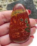 Red Creek Jasper Freeform Cab for Wire-Wrapping or Bead Embroidery 62x34.5x5mm Large Gemstone Cabochon
