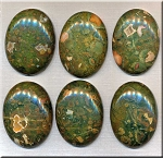 Rhyolite Cabochon, Rainforest Jasper Calibrated Oval 30x40mm