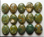 Rhyolite Rainforest Jasper Cabochon, Calibrated Oval Cab 15x20mm Gemstone Cabochon