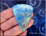 Denim Lapis Cabochon with Pyrite, Large Shield, 50x36mm