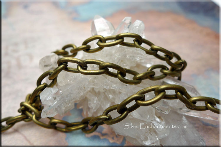 5mm alternating flat and rounded closed links CH Antique BronzeBrass finish Cable Chain by the Foot