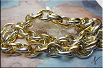 Silver and Gold Large Double Oval Link Chain, 20x15mm