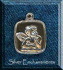 Sterling Silver Angel Medallion, Square