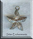 Sterling Silver Starfish Charm-Pendant, Sea Star