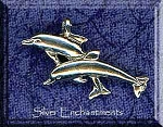 Sterling Silver Bailed Double Jumping Dolphins Pendant