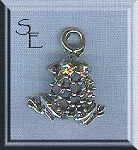 Lace Back Frog Charm, Sterling Silver