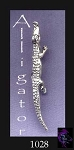 Long Alligator Pendant, Sterling Silver