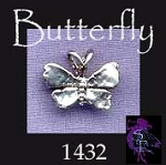Sterling Silver Butterfly Charm, Beader Bailed