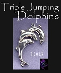 Sterling Silver Triple Jumping Dolphins Pendant