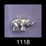 Sterling Silver Elephant Charm, 3D