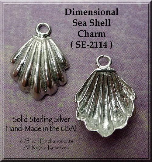 Sea Shell Charm Pendant STERLING SILVER